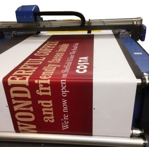 roller fed poster materials being processed on a DYSS